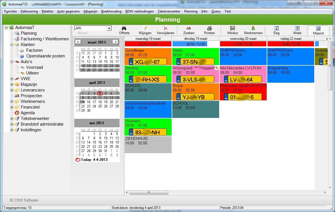 Csw software verandert amt for Planning maken