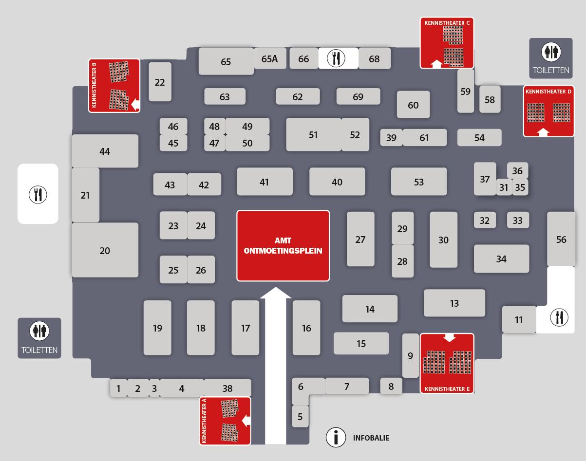 De plattegrond van AMT Live 2016. Bij binnenkomst ontvang je uiteraard een handige flyer met plattegrond en programma.