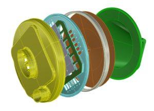 Zo simpel is dat. Geel inlaatdeksel, groen deksel met uitlaataansluiting, in bruin het carbon membraan dat 50 0C werktemperatuur weerstaat. In blauw de schijf met Reed valves.