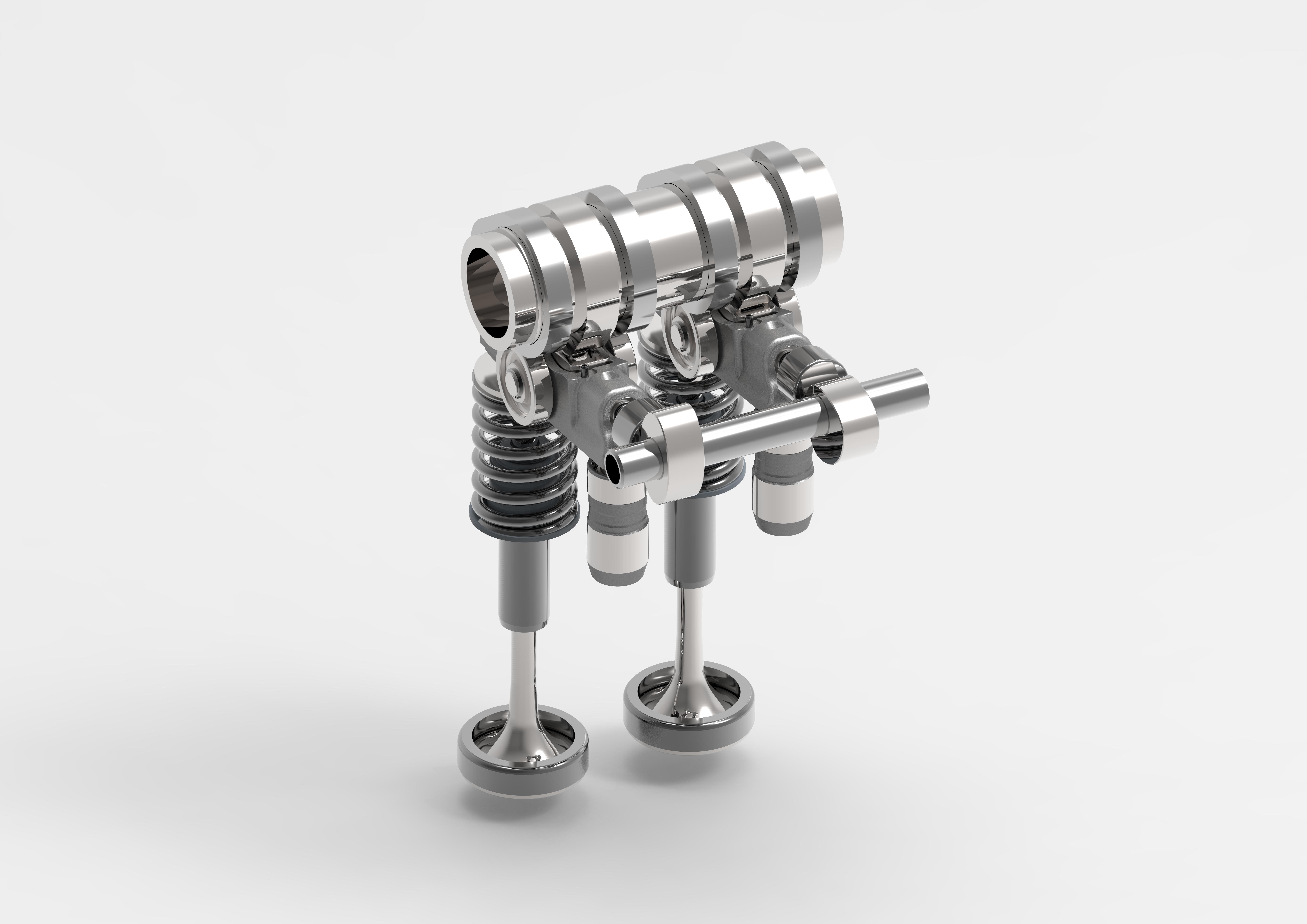 Aan de zijde van de hydraulische klepsteller zien we het mini-nokkenasje dat de samengestelde tuimelaar bedient. Merk op: twee verschillende nokjes, om twee in- of uitlaatkleppen per cilinder elk apart te regelen.