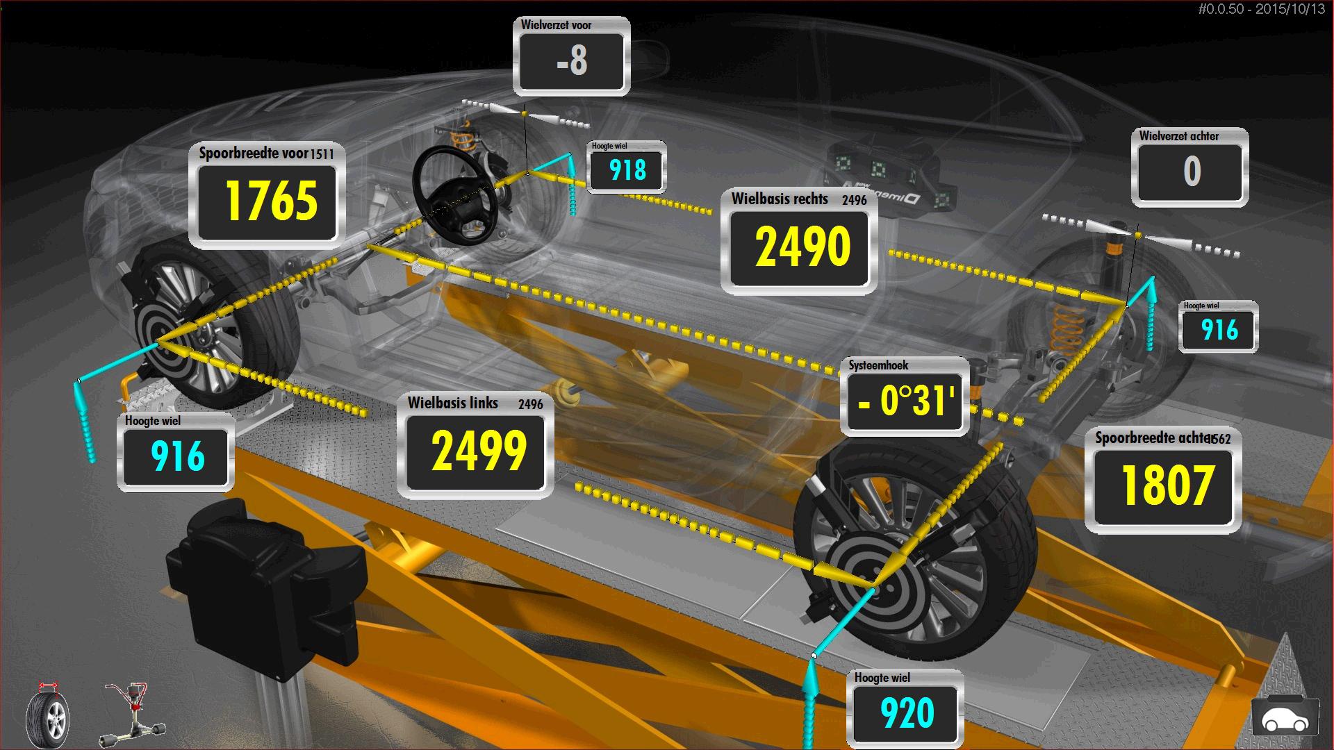 Roland controleert de geometrie van het voertuig. Hoe zit het met de wielbasis links en rechts? Kloppen de spoorbreedtes van beide assen? Een aanrader wanneer de herkomst of het schadeverleden van de auto niet duidelijk is. 3D-uitlijnen doe je ten opzichte van de rijlijn. De systeemhoek mag dus afwijken van nul. Is de hoek erg groot, dan is de basisgeometrie niet in orde en is er wellicht iets misgegaan bij richtwerk tijdens schadeherstel.